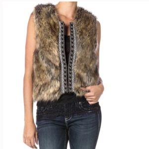 NWOT Miss Me Faux Fur Beaded Cable Knit Vest, M
